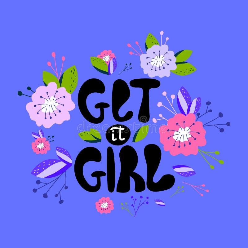 Een hand-drawn illustratie met het van letters voorzien krijgt het meisje Feminismecitaat in vector wordt gemaakt die Vrouwen mot royalty-vrije illustratie