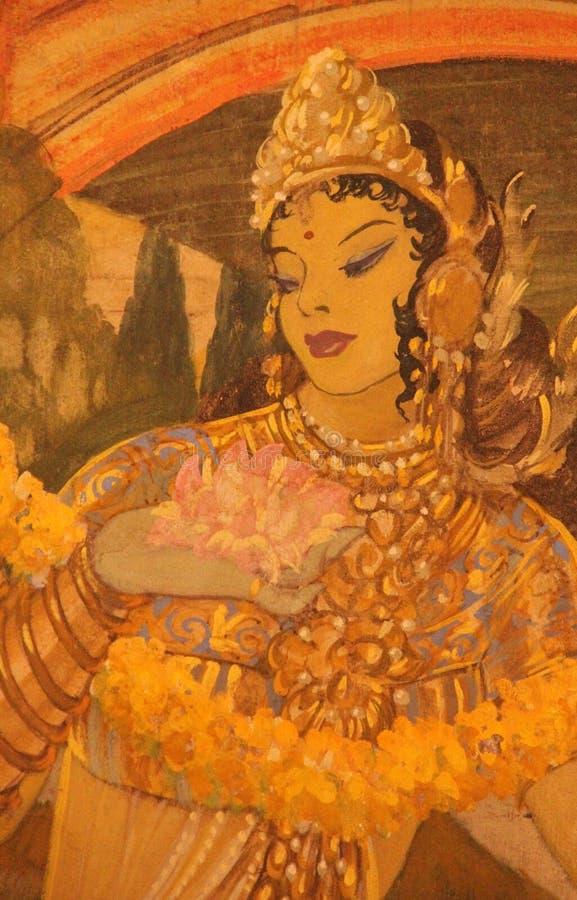 Een Hand geschilderde Fresko in Jodhpur stock fotografie