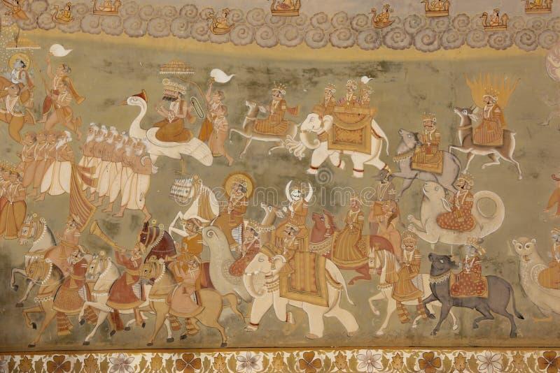 Een Hand geschilderde Fresko in Jodhpur stock afbeelding