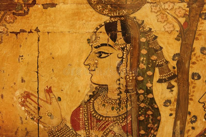 Een Hand Geschilderde Fresko in Udaipur stock foto
