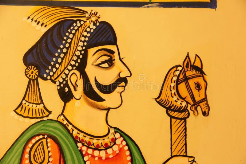 Een Hand Geschilderde Fresko in Udaipur royalty-vrije stock foto's