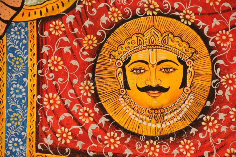 Een Hand Geschilderde Fresko in Udaipur stock afbeeldingen