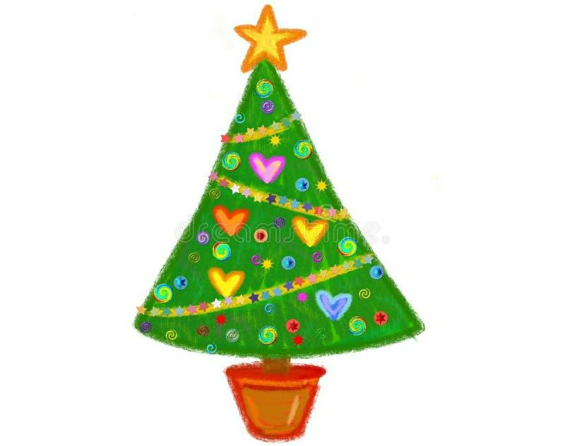 Een Hand Getrokken Kerstboom met Grote Gele Ster Topper royalty-vrije stock afbeeldingen