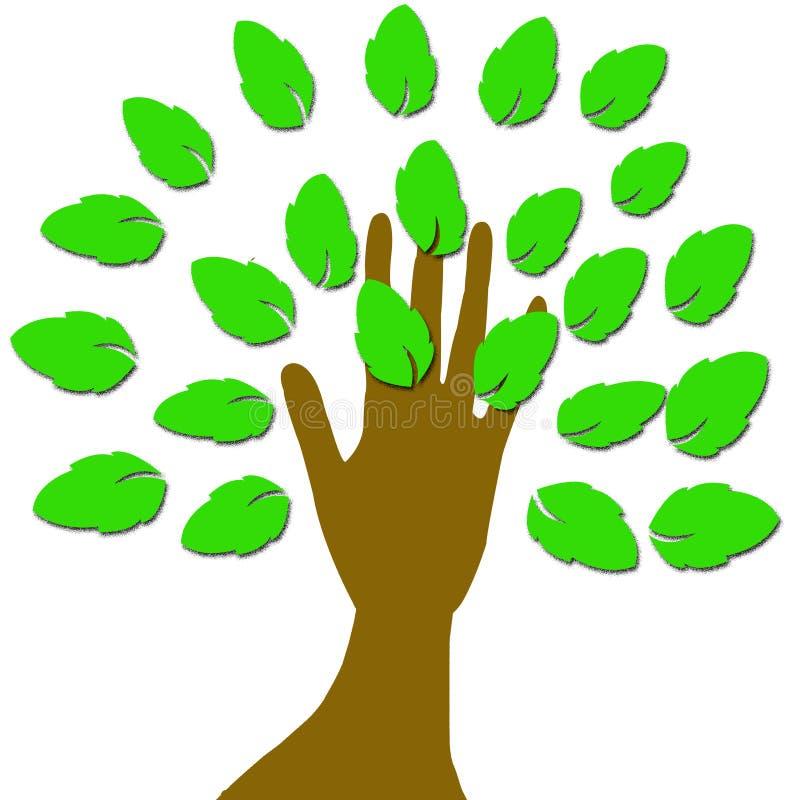 Een hand met bladeren vector illustratie