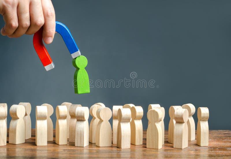 Een hand met een magneet trekt groene mens berekent van de grote menigte van mensen Het aanwerven van nieuwe arbeiders, koppensne stock afbeeldingen