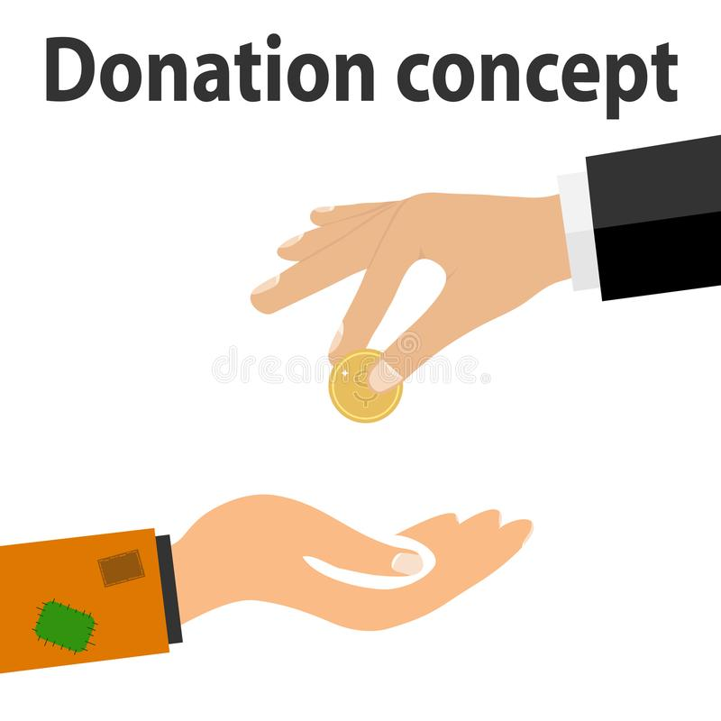 Een hand met een muntstukdonadion aan de armen De rijken geven slechte aalmoes royalty-vrije illustratie