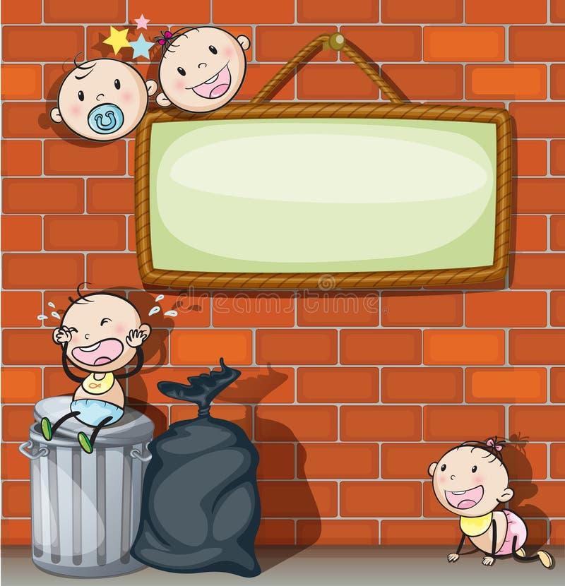 Een hangend leeg uithangbord met zuigelingen stock illustratie