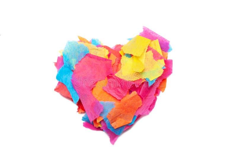 Een hartvorm leidde tot van gescheurd papieren zakdoekje royalty-vrije stock foto's