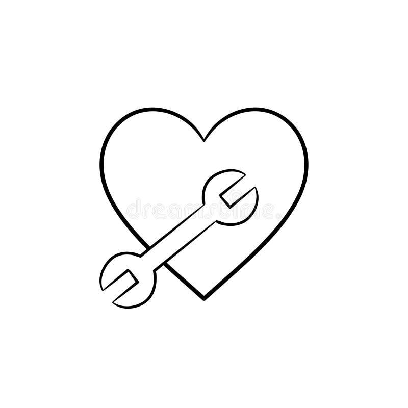 Een hartvorm met een de krabbelpictogram van het moersleutelhand getrokken overzicht vector illustratie