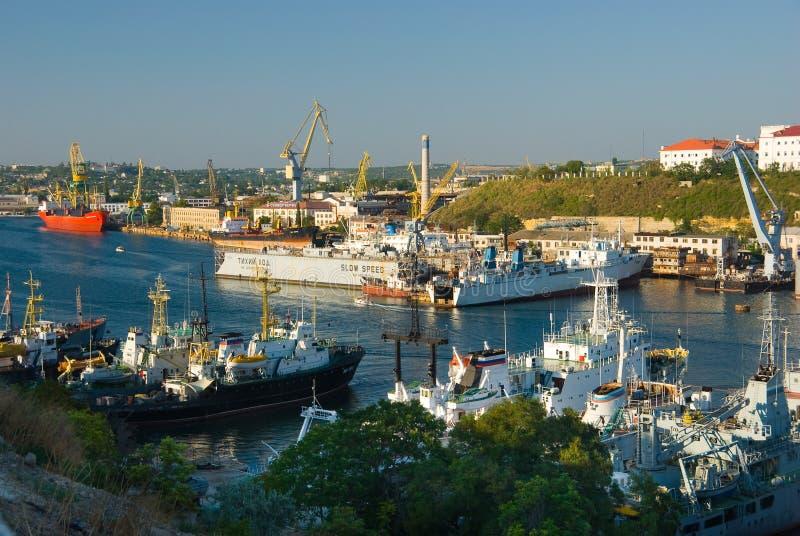 In een haven stock afbeelding