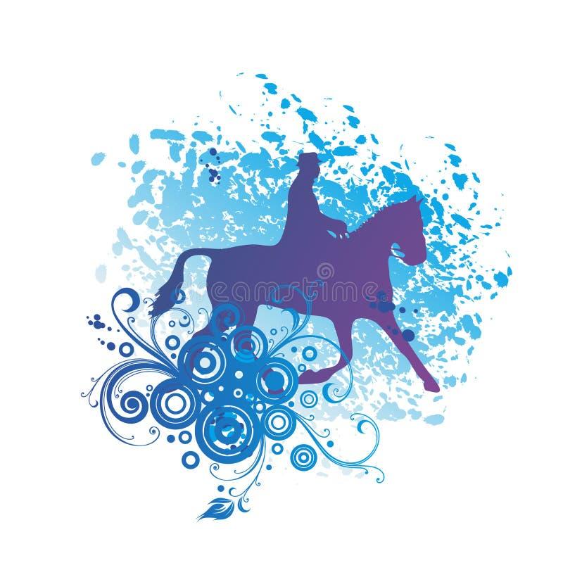 Een Heer die een Paardsilhouet berijden stock illustratie
