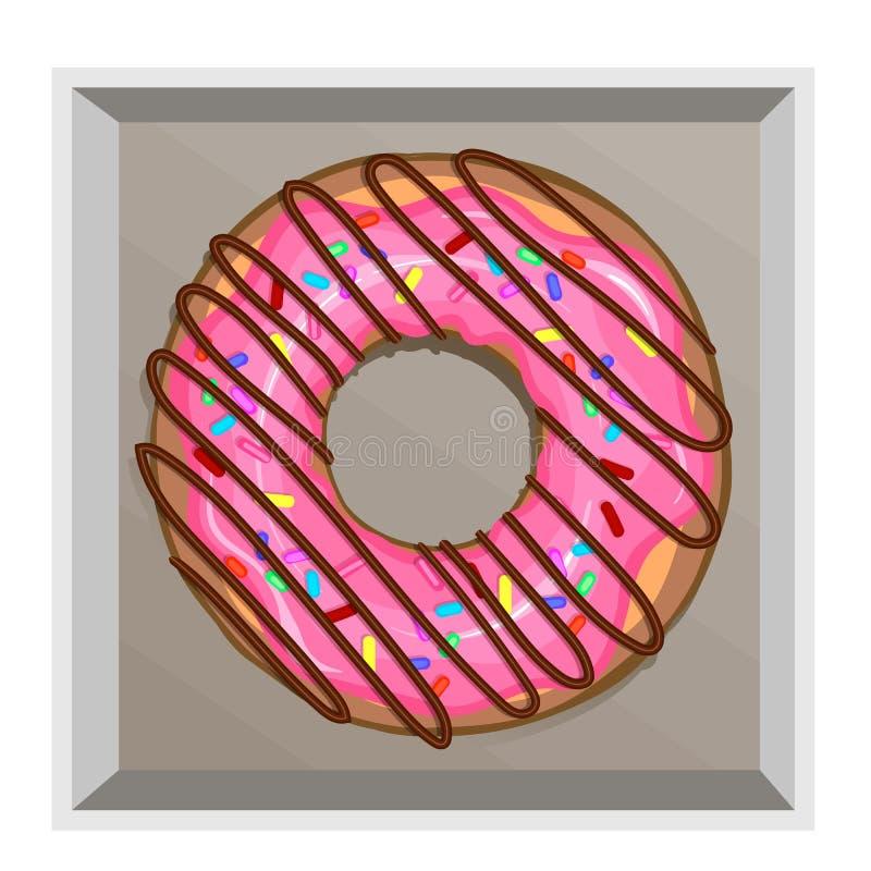 Een heerlijke doughnut in een roze die berijpen met bestrooit en brak chocolade af vector illustratie