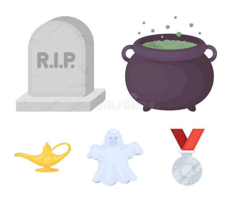 Een heksen` s ketel, een grafsteen, een spook, een jeneverlamp Zwart-witte magische vastgestelde inzamelingspictogrammen in de ve royalty-vrije illustratie