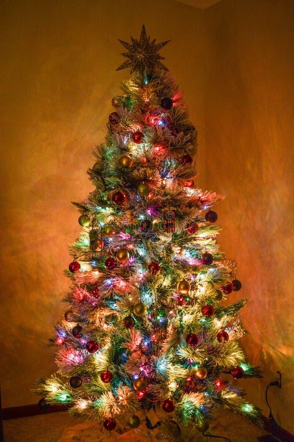 Een helder aangestoken Kerstmisboom stock foto's