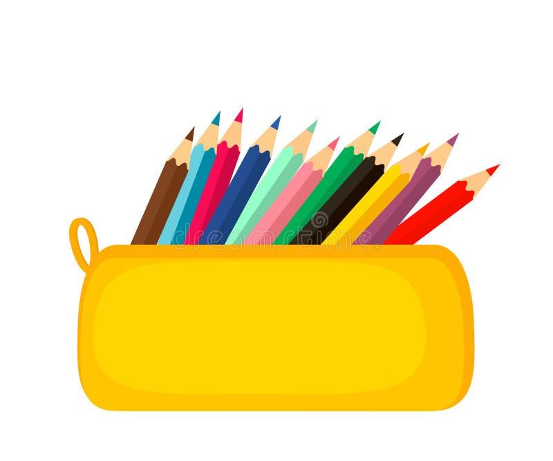 Een helder die geval van het schoolpotlood met schoolkantoorbehoeften wordt gevuld, zoals pennen, potloden, Concept 1 September,  stock illustratie