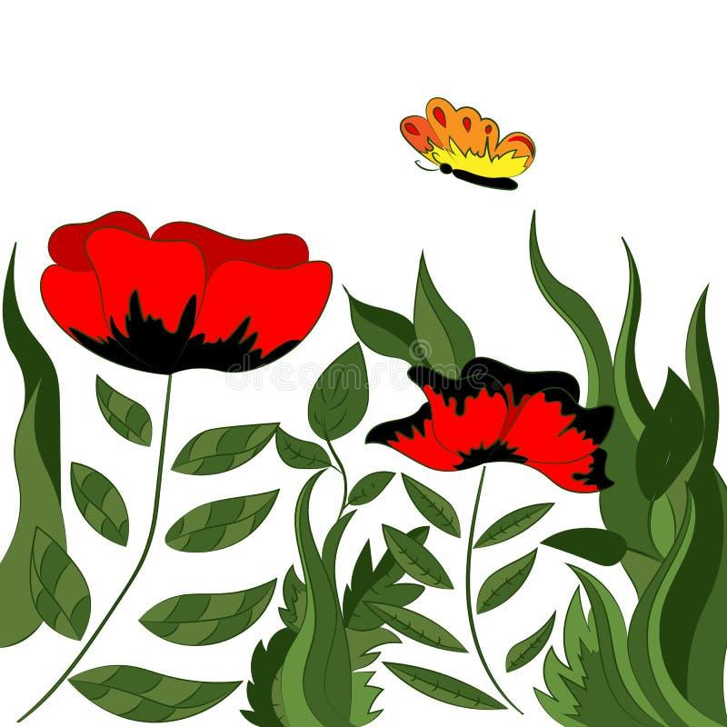 Een helder magisch papavergebied Fabelachtig behang royalty-vrije illustratie