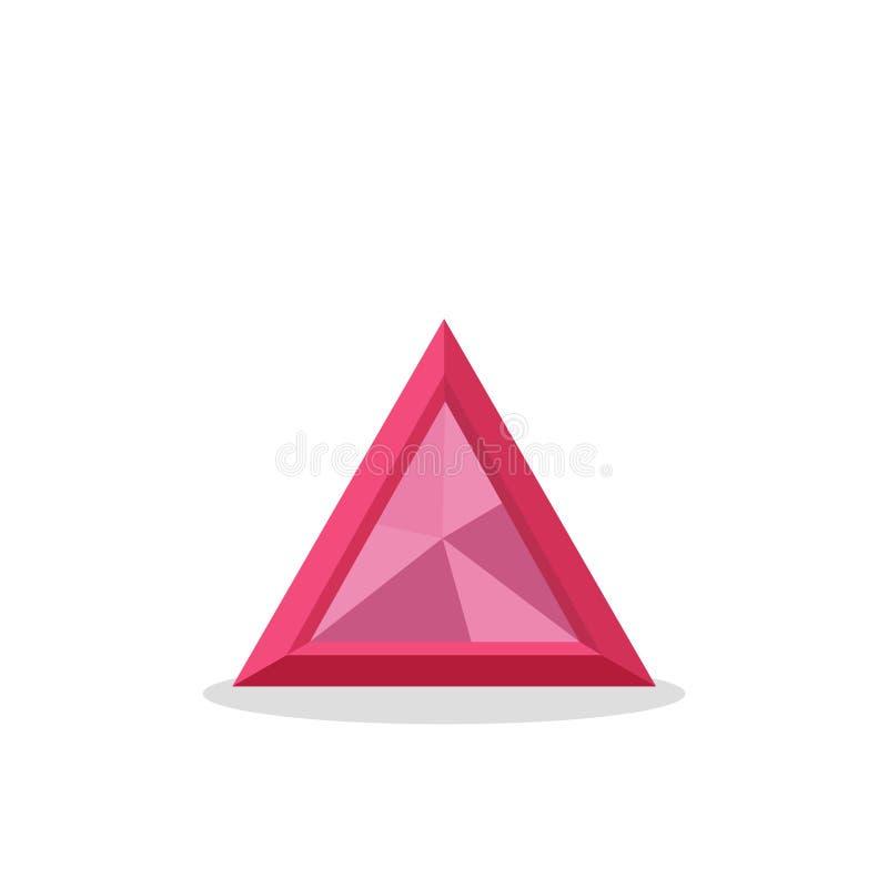 Een helder roze die kristal op een witte achtergrond wordt geïsoleerd Een blauwe diamant Juwelenconcept Vector illustratie stock illustratie