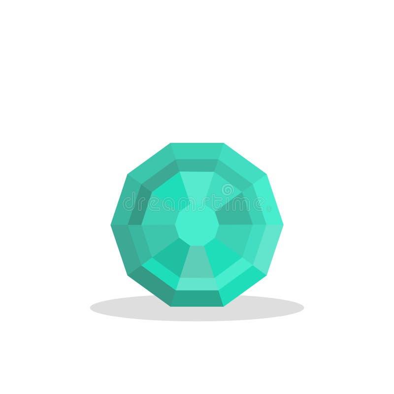 Een heldere blauwe die gem op een witte achtergrond wordt geïsoleerd Een blauwe diamant Juwelenconcept Vector illustratie royalty-vrije illustratie