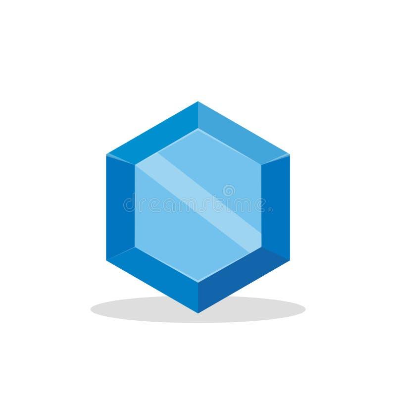 Een heldere blauwe die gem op een witte achtergrond wordt geïsoleerd Een blauwe diamant Juwelenconcept Vector illustratie vector illustratie
