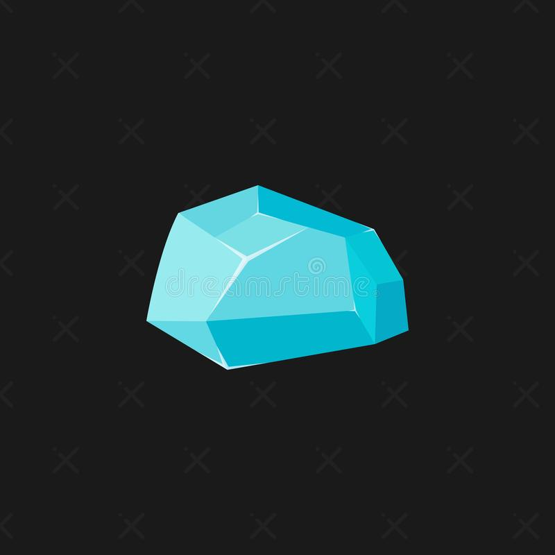 Een heldere blauwe gem op een zwarte achtergrond Een arduinsteen tanzanite Juwelenconcept Vector illustratie vector illustratie