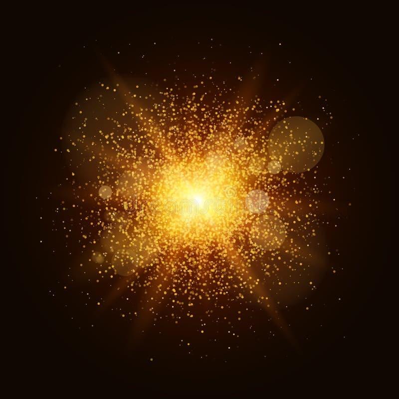 Een heldere gouden flits met magisch stof is geïsoleerd op een zwarte achtergrond Kerstmisbrand Flits, hoogtepunt voor uw project stock illustratie