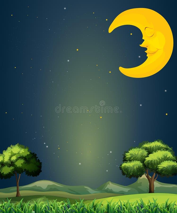 Een heldere hemel met een slaapmaan stock illustratie