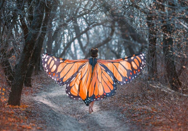 Een heldere, positieve, zonnige monarchvlinder, met reusachtige vleugels, loopt in een donkergrijze boskunstfoto van de rug stock fotografie