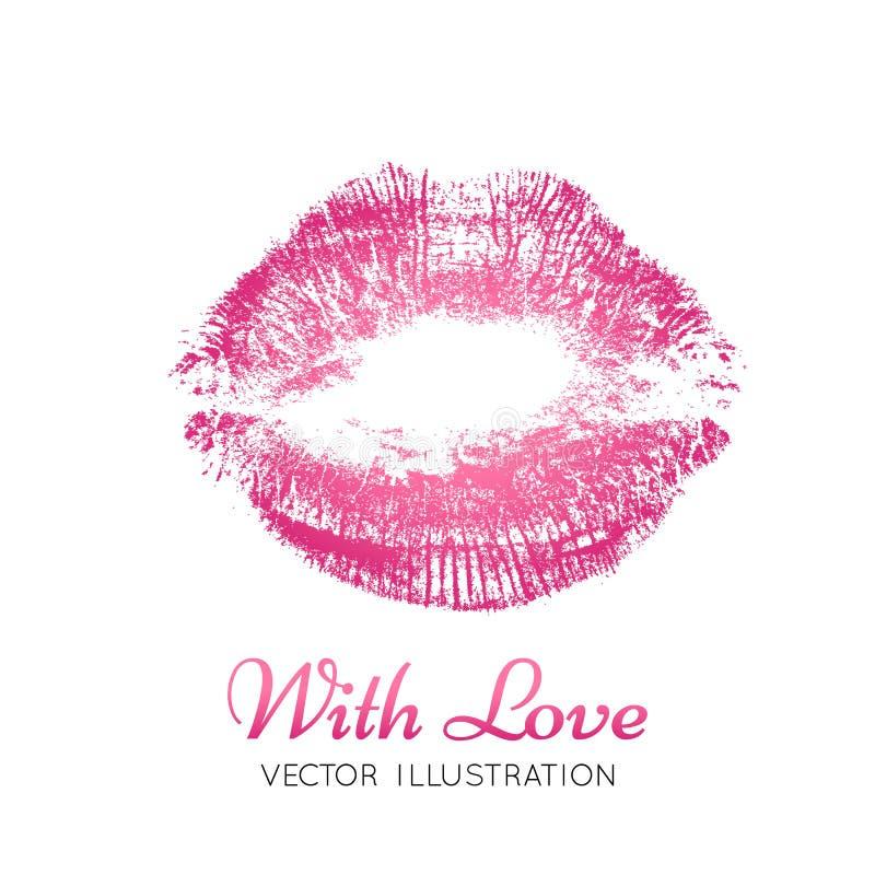 Een heldere roze afdruk van de lippen royalty-vrije illustratie