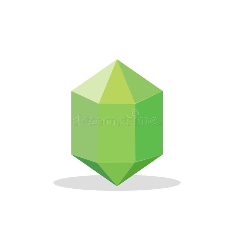 Een heldergroen kristal op een witte achtergrond Een groene diamant Juwelenconcept Vector illustratie stock illustratie