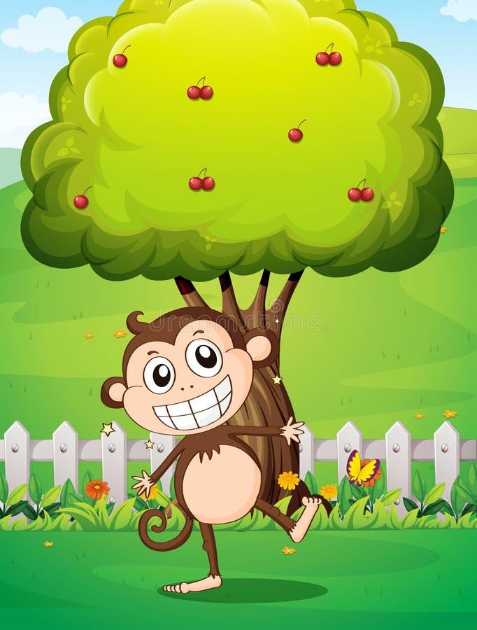 Een het glimlachen aap bij de werf voor de boom met kersen royalty-vrije illustratie