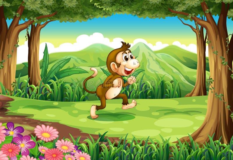 Een het glimlachen aap bij de wildernis royalty-vrije illustratie