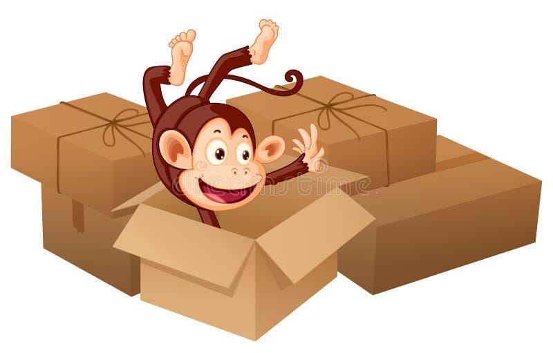 Een het glimlachen aap en dozen vector illustratie