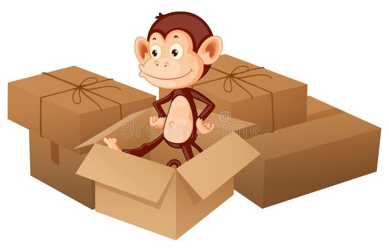 Een het glimlachen aap en dozen royalty-vrije illustratie