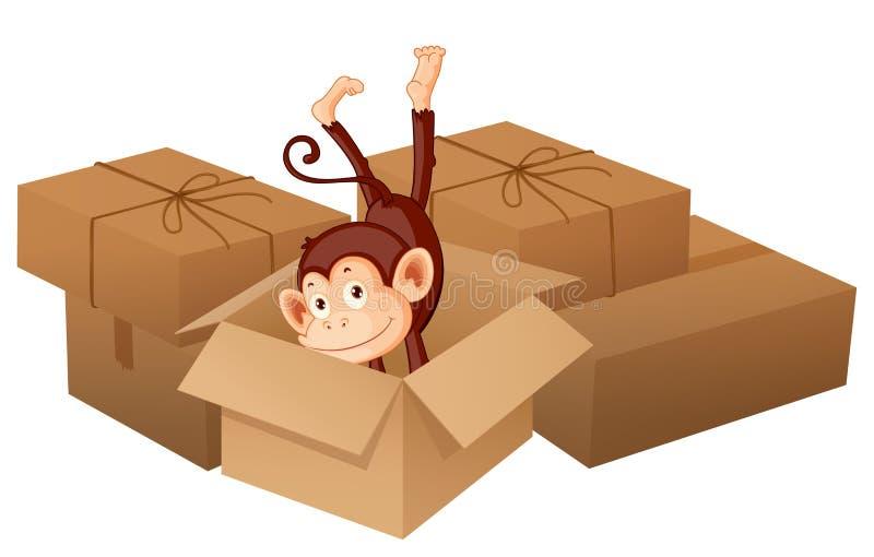 Een het glimlachen aap en dozen stock illustratie