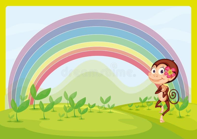Een het glimlachen aap en een regenboog vector illustratie