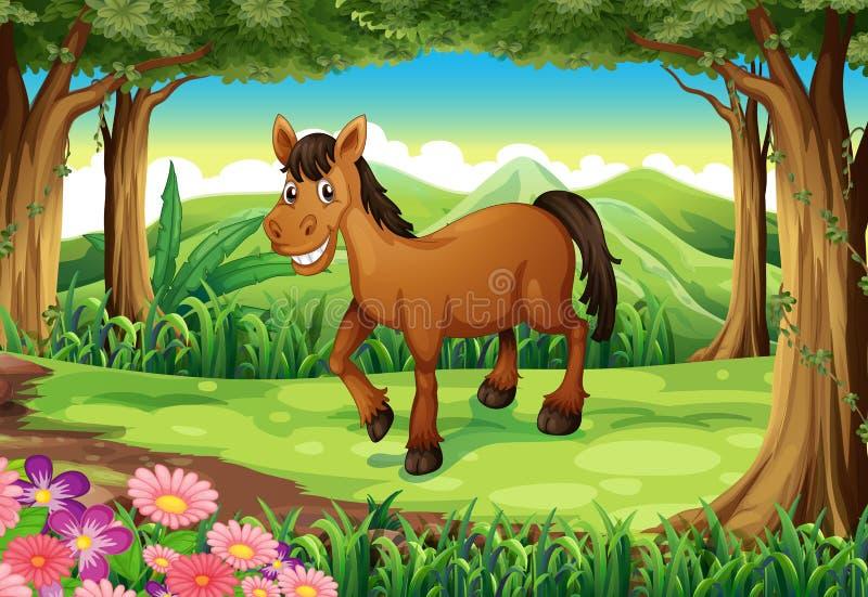 Een het glimlachen bruin paard bij het bos stock illustratie