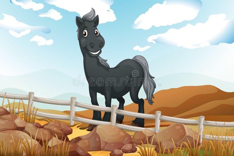 Een het glimlachen grijs paard dichtbij de houten omheining vector illustratie