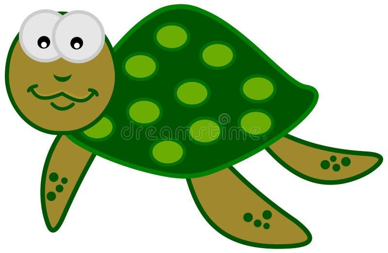 Een het glimlachen groene zeeschildpad vector illustratie