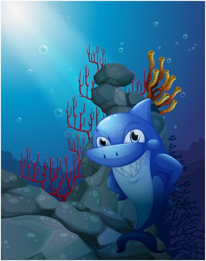 Een het glimlachen haai dichtbij de rotsen royalty-vrije illustratie