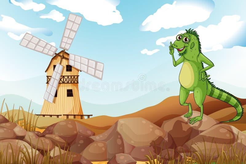 Een het glimlachen hagedis over houten barnhouse met een windmolen stock illustratie