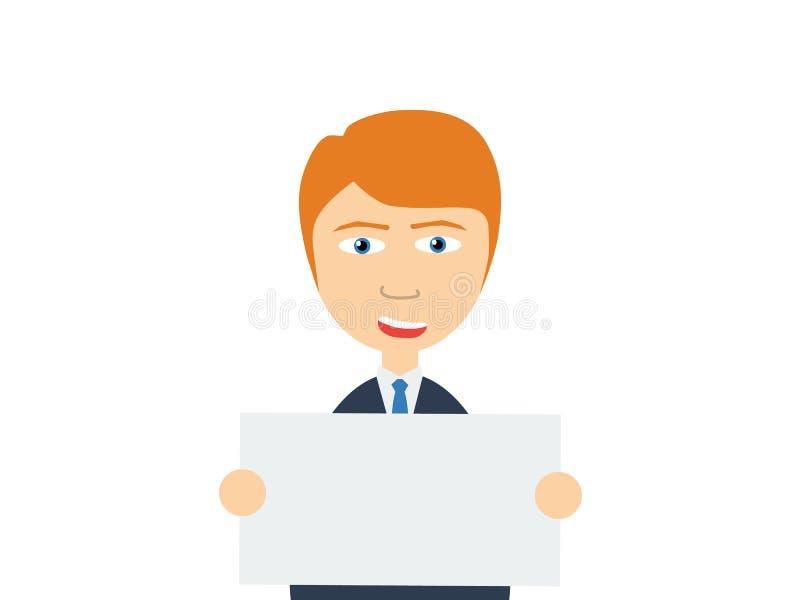 Een het glimlachen jonge Kaukasische kerel die een lege witte raad houden vector illustratie