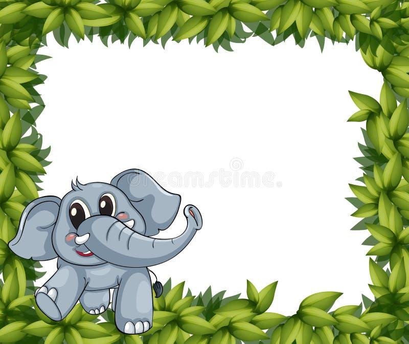 Een het glimlachen olifant en installatiekader royalty-vrije illustratie