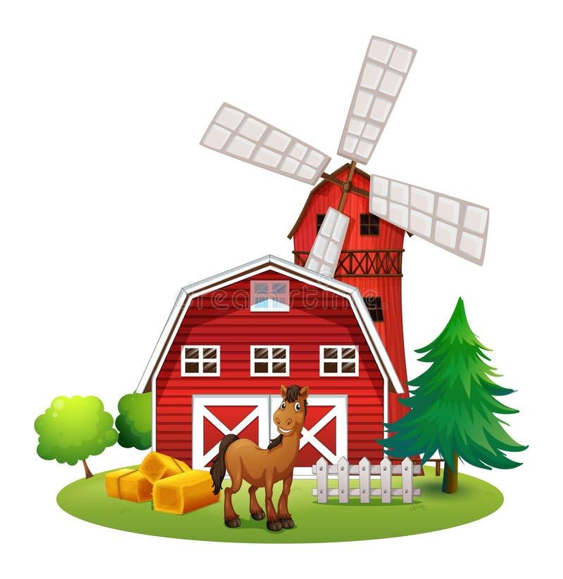 Een het glimlachen paard buiten rode barnhouse met een windmolen vector illustratie