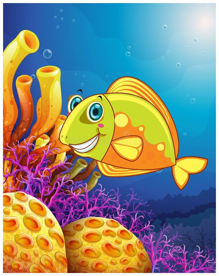 Een het glimlachen vis onder het overzees royalty-vrije illustratie