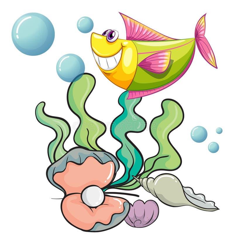 Een het glimlachen vis onder het overzees dichtbij shells royalty-vrije illustratie