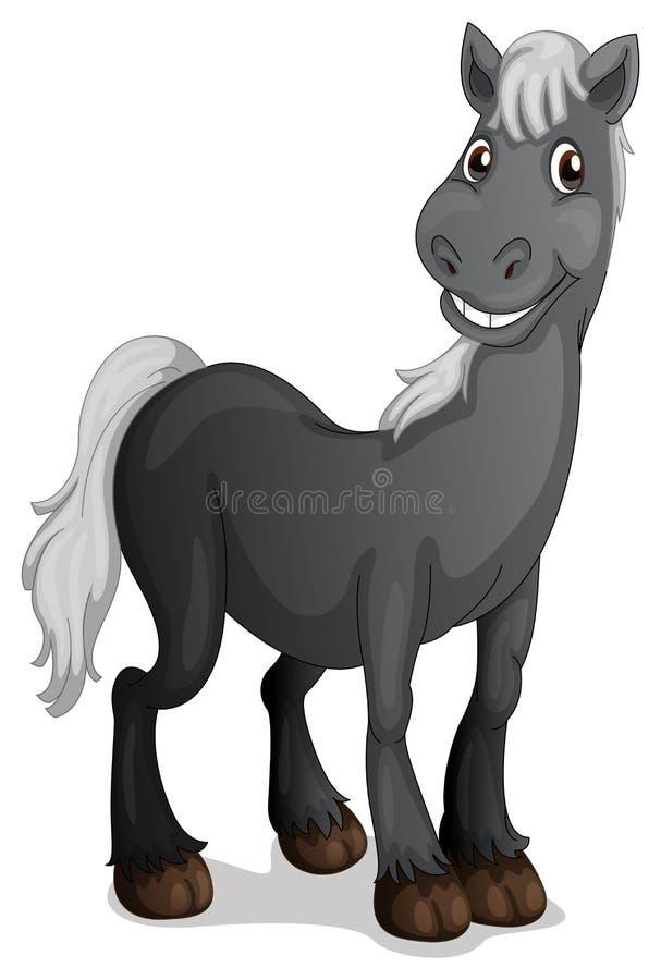 Een het glimlachen zwart paard vector illustratie