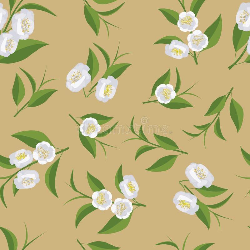 Een het herhalen patroon van bloemen en groene theebladen royalty-vrije stock afbeeldingen
