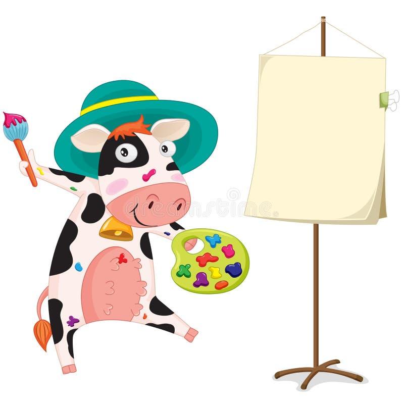 Een het schilderen koe stock illustratie