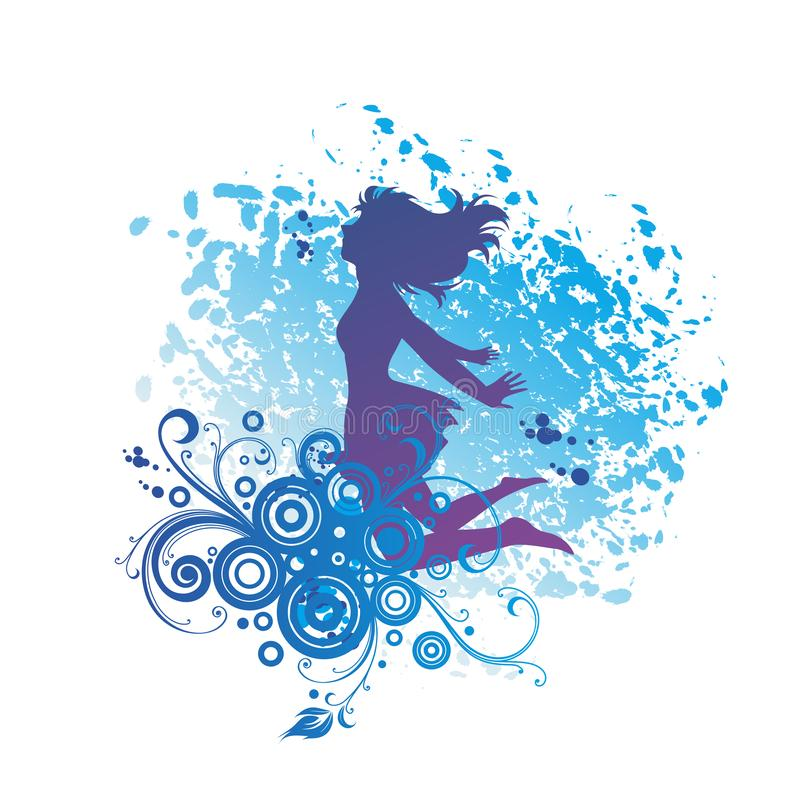 Een het Springen Meisjessilhouet, Plezier vector illustratie