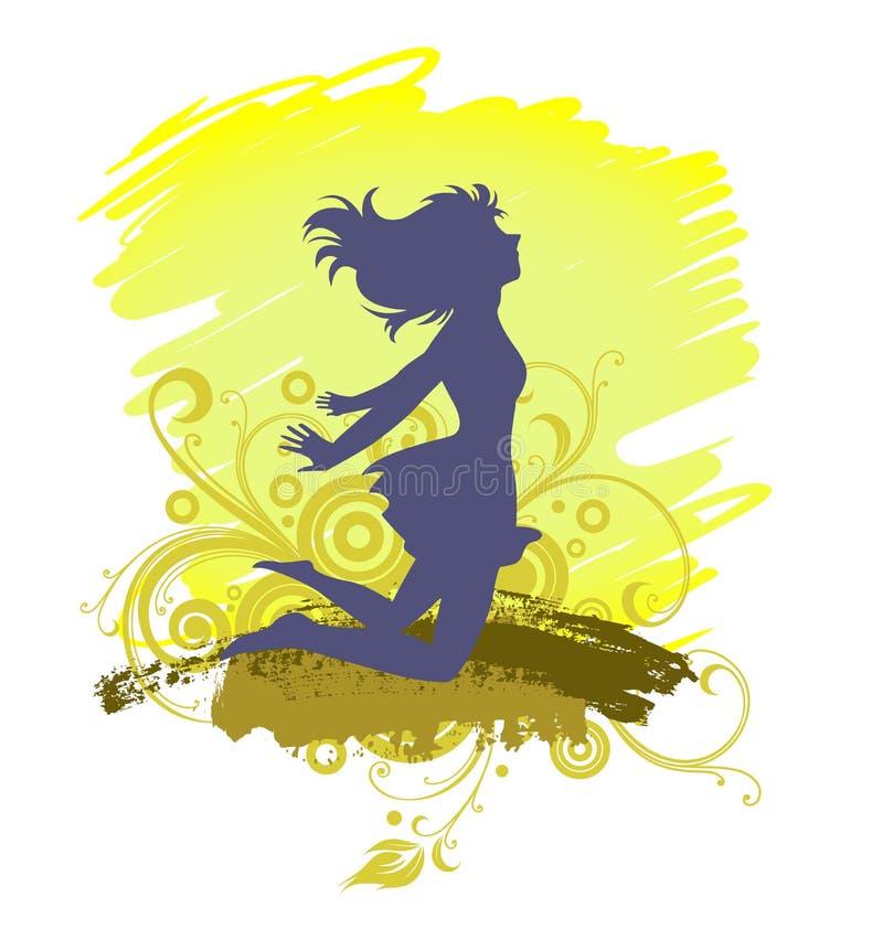 Een het Springen Meisjessilhouet, Plezier royalty-vrije illustratie